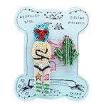 刺繍ミニブローチルチャとサボテン