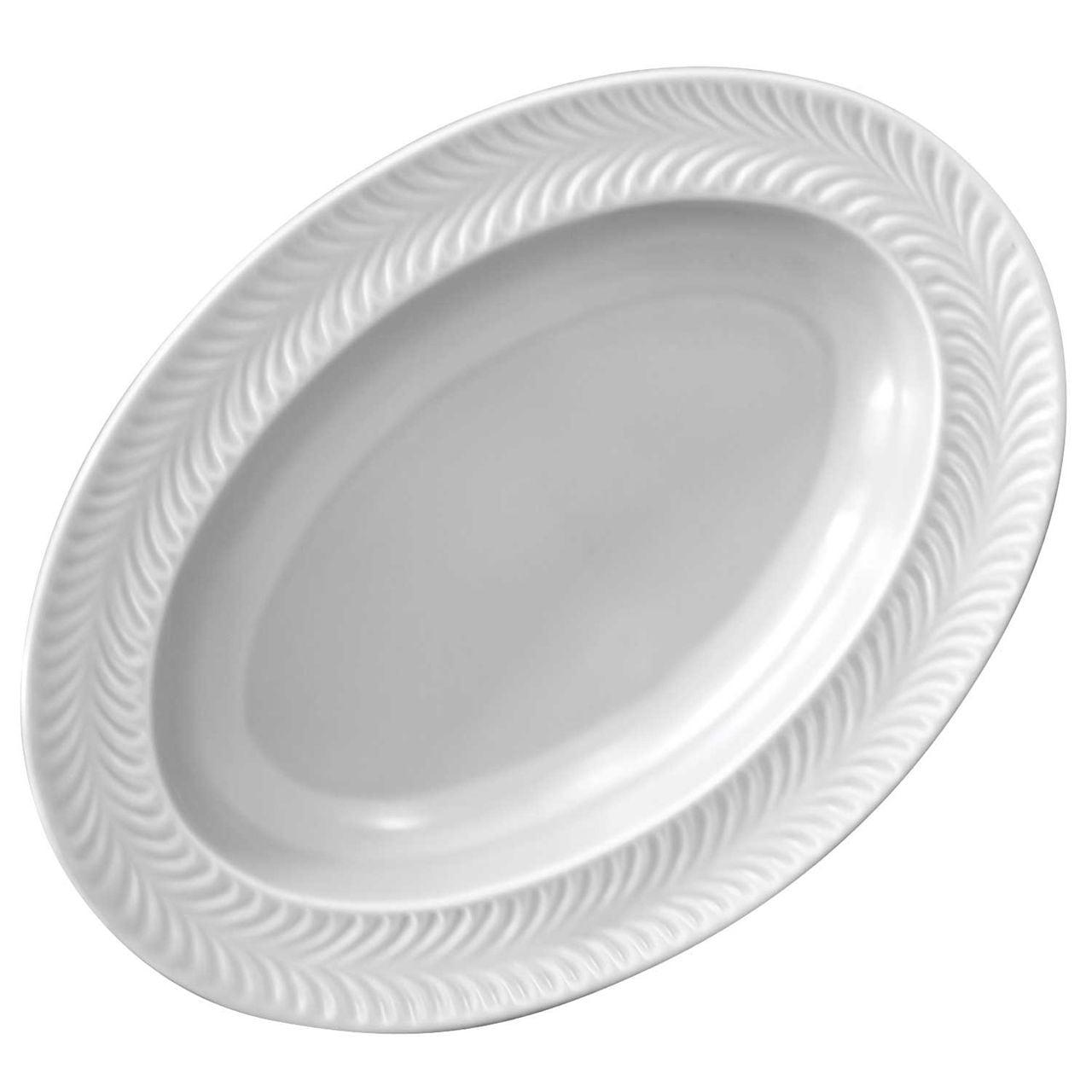 波佐見焼 翔芳窯 ローズマリー リムオーバル 皿 約27×19cm マットグレー 33399