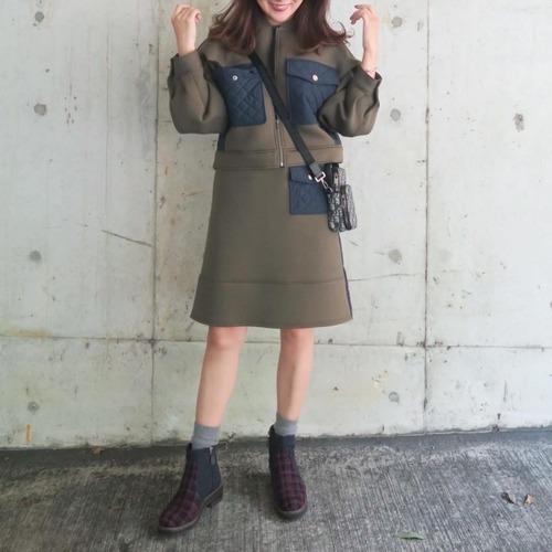 キルティングドッキングスカート(カーキ×ネイビー)