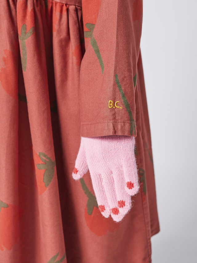 【予約8月入荷】bobochoses(ボボショセス)Hands pink knitted gloves 手袋【ピンク】