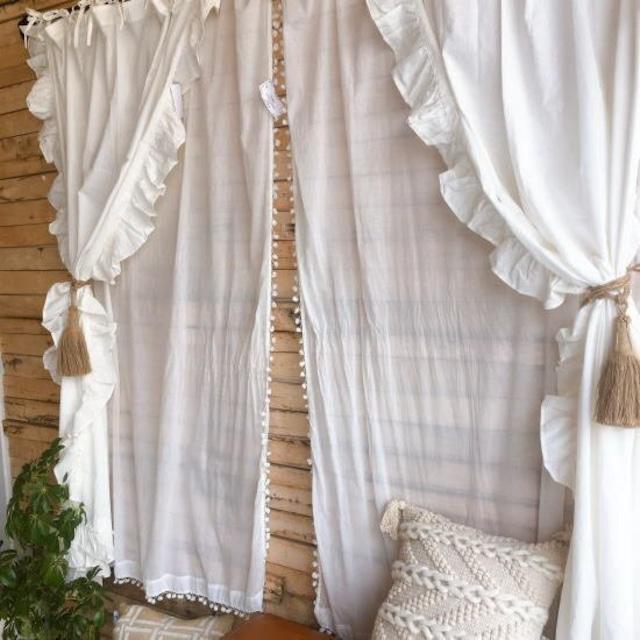 TOPANGA Homefurnishing  コットンシーチング ラッフルカーテン W110×H180cm