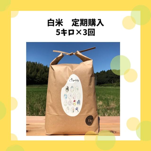 【ちょっぴりお得なお米の定期便】白米5キロ×3回