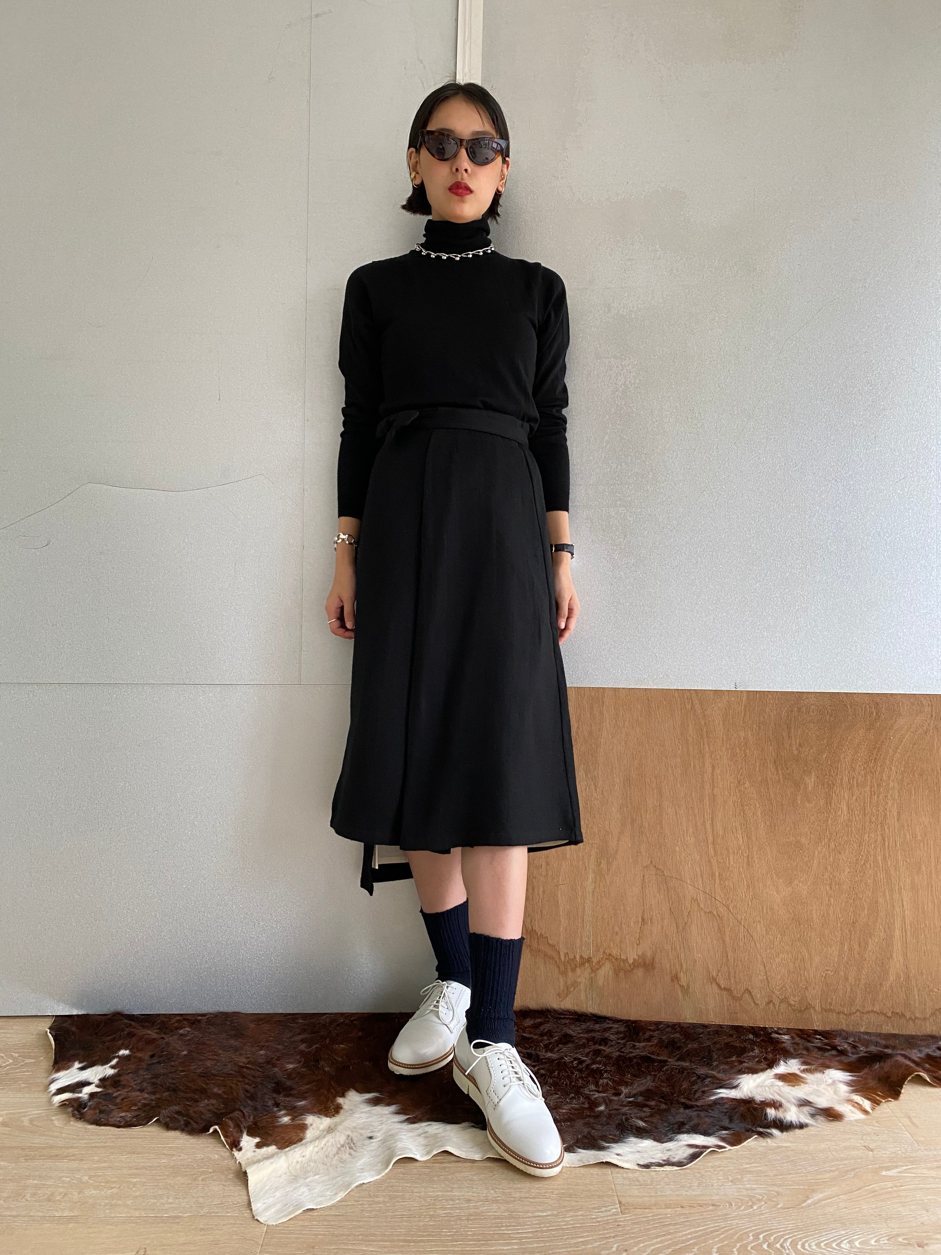 "Wrapped Skirt ""Black"" khadi wool"