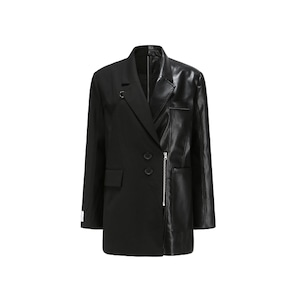 【24 ans】 エコレザー切り替えZIPテーラードジャケット