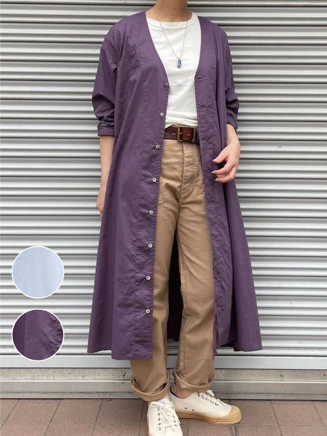 【ONEWASH】Vネックシャツワンピース