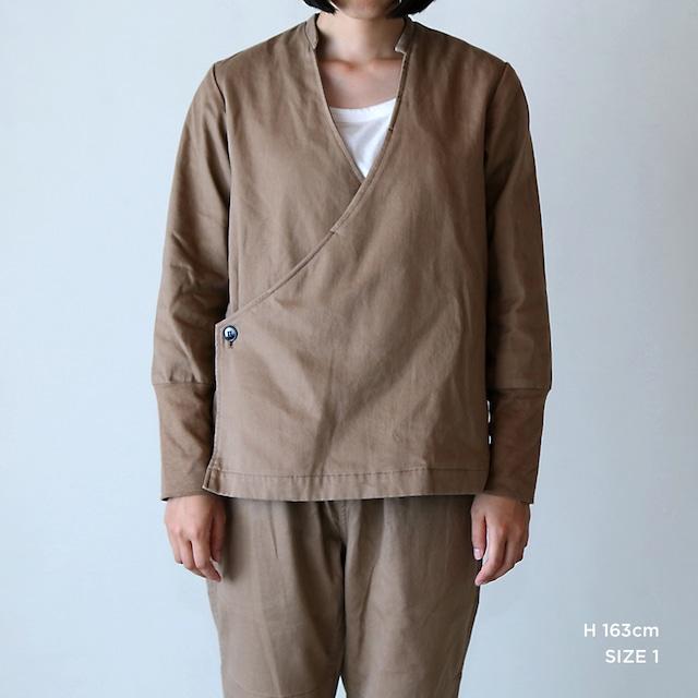 JK-24 立衿作務衣  チノ起毛  胡桃色
