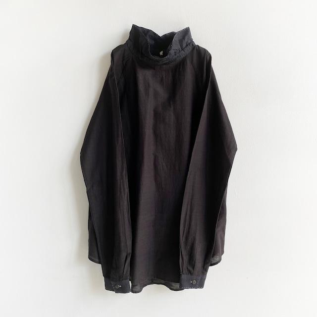 "High neck gather blouse ""black"" silk & organic cotton"