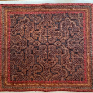 刺繍のカフェマット15 刺子風 裏付き 南米シピボ族の手刺繍