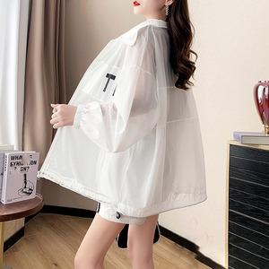 韓流スタイル 日焼け対策 冷房対策 UVカット チュール 長袖 ジャケット+ショートパンツ セットアップ <ins-1927>
