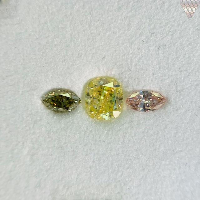 合計  0.89 ct 天然 カラー ダイヤモンド 3 ピース GIA  1 点 付 マルチスタイル / カラー FANCY DIAMOND 【DEF GIA MULTI】