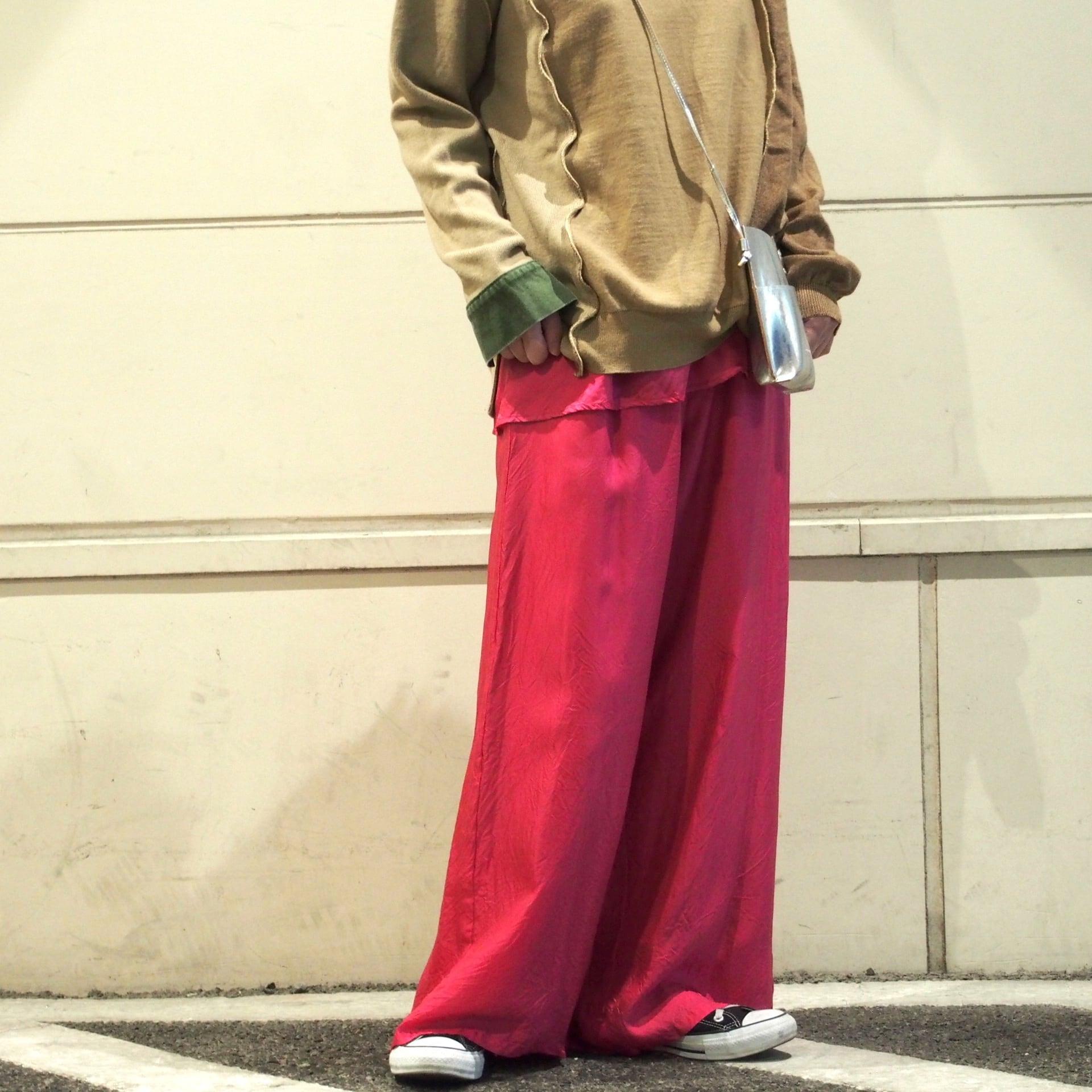 【hippiness】cupro shirring pants (683pink) /【ヒッピネス】キュプラシャーリングパンツ(683ピンク)