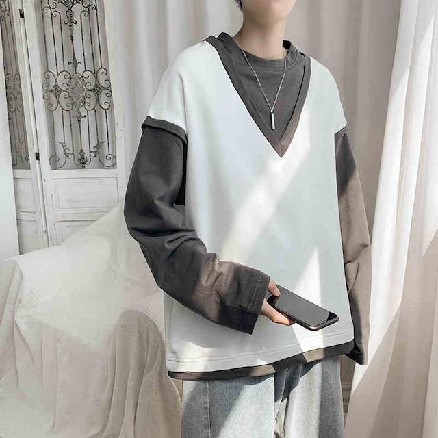 レイヤードVネックベストロングTシャツ M-2XL