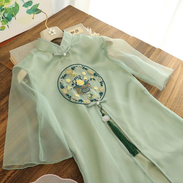 【俏娘魚シリーズ】★チャイナドレス★ ワンピース ドレス 刺繍 花 グリーン 緑 大きいサイズ 可愛い