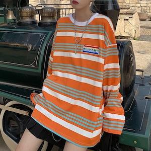 【トップス】ストリート系長袖配色ストライプ柄プルオーバーTシャツ42915594
