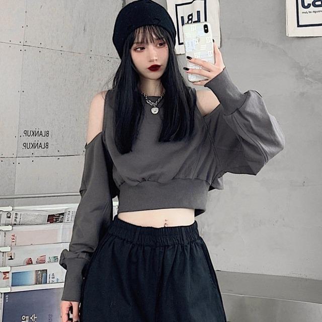 【トップス】ファッションショート丈韓国系ゆったりパーカー42897719