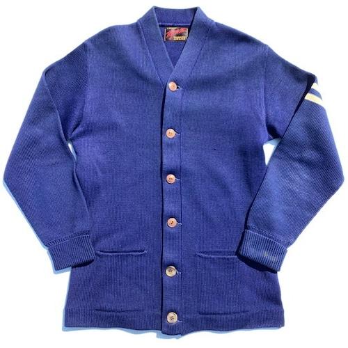 50's Wil Wite VARSITY AWARD アワードカーディガン ローゲージニット ネイビー 紺 袖ライン 美品 アスレチックウェア 社名ボタン M位 希少 ヴィンテージ BA-930 RM1299H