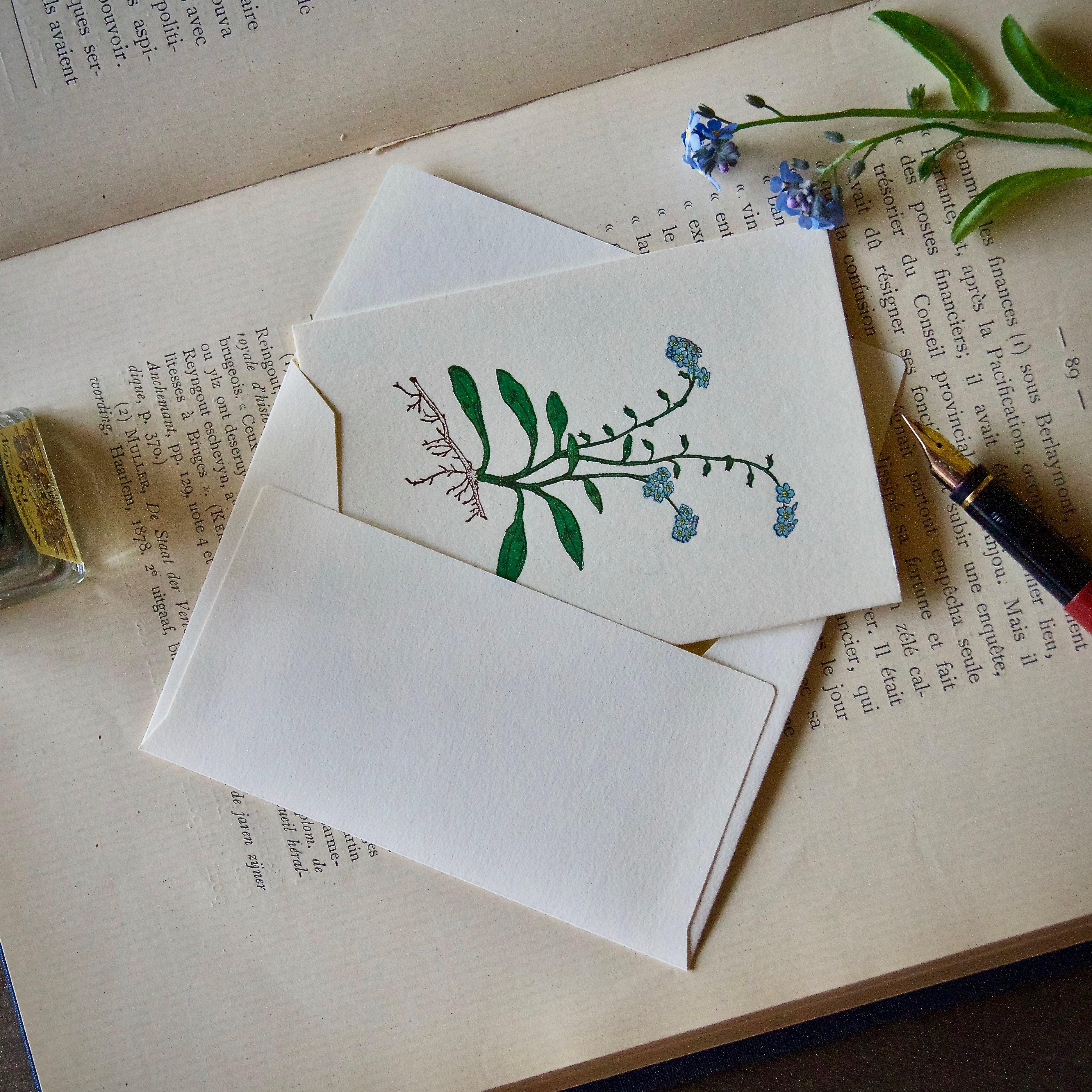 【カード 小】 ワスレナグサ / カード1枚+封筒1枚/活版印刷