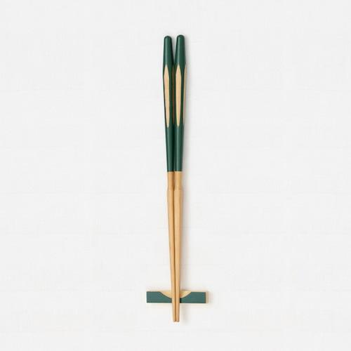 エレガントカット箸(緑) 【45-041】