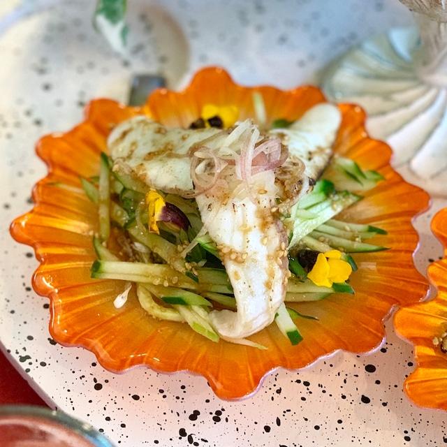 鯛とみょうがの中華カルパッチョ