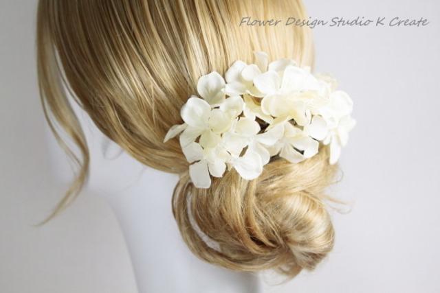 清楚なエクリュカラーの紫陽花のUピン(L:3本セット)  ウェディング 結婚式 紫陽花 アジサイ あじさい 髪飾り 浴衣 エクリュ 造花 アートフラワー