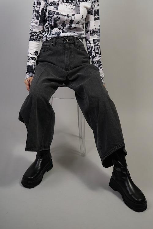 CROPPED DENIM PANTS  (BLACK) 2109-44-1022