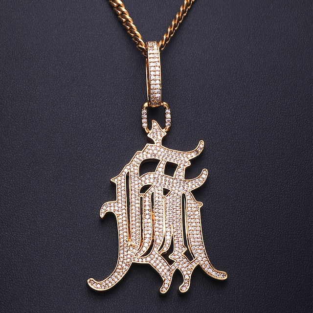 K18GP 麻 ブラックレター パヴェ ネックレス (キューバンチェーン付き:サイズ 4mm*55cm)金ネックレス