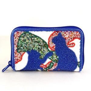 ラウンド小財布099ブルー猫mix柄ビーズ刺繍