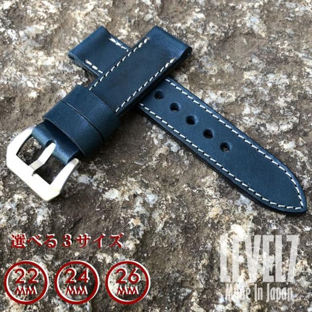 【ラグ幅:22MM/24MM/26MM対応】日本製 ハンドメイド パネライ スタイル オイル染料仕上げ スムース ヌメ革/レザーベルト ブルー ホワイトステッチ バックル付き 腕時計 替えベルト SP-H002C6-BLWH LEVEL7