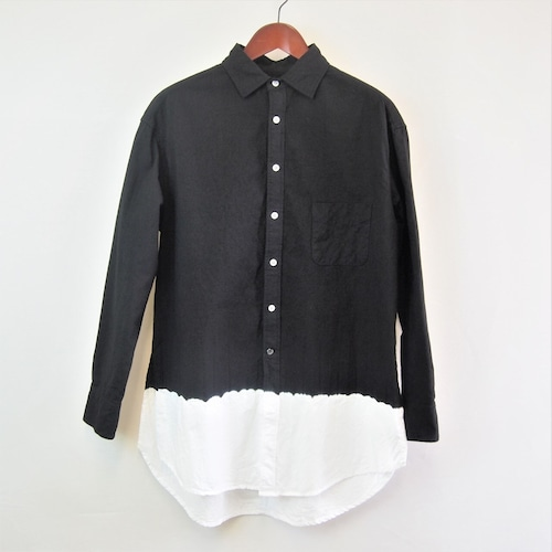 <OSOCU> Chita-momen long shirt black dye white hem