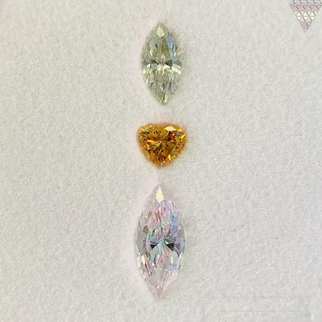 合計  0.51 ct 天然 カラー ダイヤモンド 3 ピース GIA  1 点 付 マルチスタイル / カラー FANCY DIAMOND 【DEF GIA MULTI】