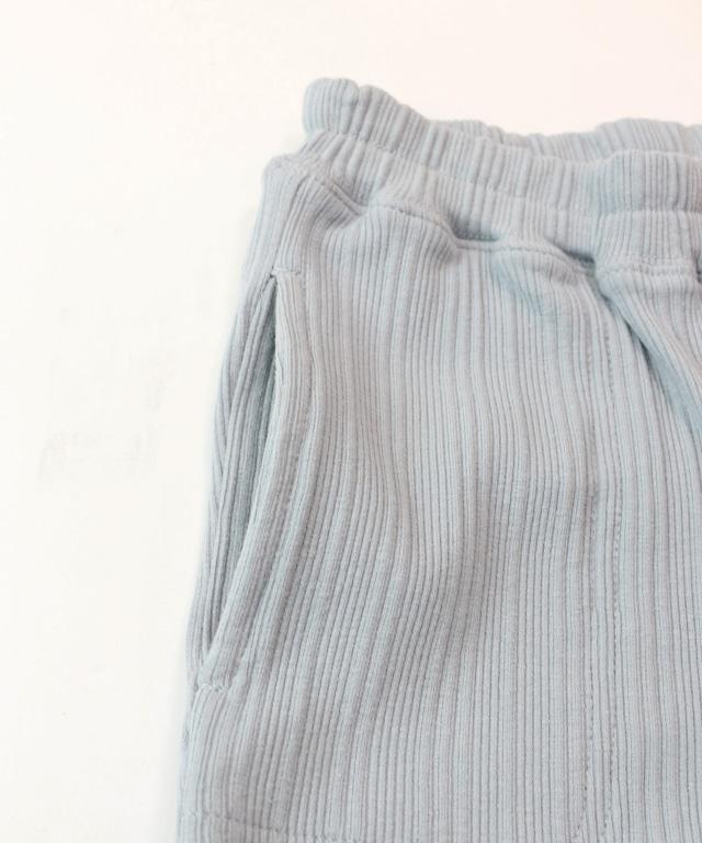 テレコリブ裾スリットロングパンツ