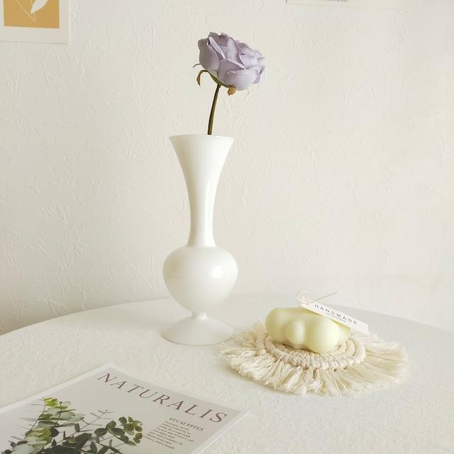 【送料無料】フラワーベース  ホワイト ガラス花瓶韓国 雑貨 インテリア