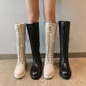 【シューズ】韓流暖かい切り替えミドルヒール丸トゥロング丈ブーツ42906757