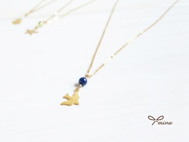【選べる】誕生石の華奢な14kgfネックレス(鳥・ハート・星)