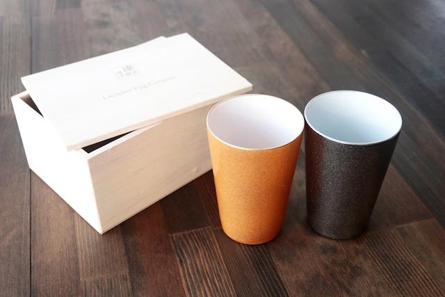 『漆薄手磁器』 『Lacquered Egg Ceramic』 『フリーカップペア』*陶胎漆器 フリーカップ セット 贈り物 日本酒 乾杯 記念 ギフト プレゼント お祝い 敬老の日