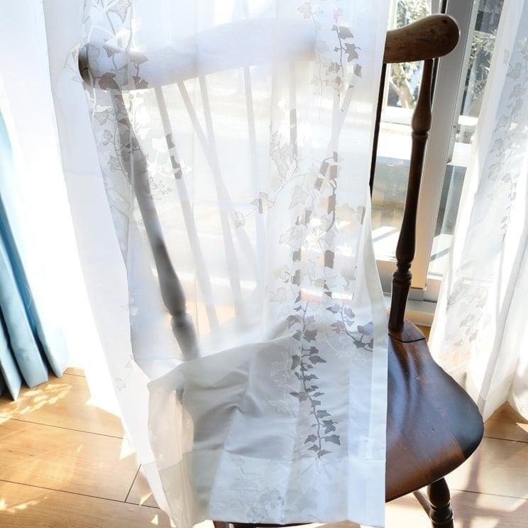 【最短6営業日で出荷】オパールレースカーテン「Ivy アイヴィー ホワイト」 (幅×丈):100×133cm(2枚組) ac-0081