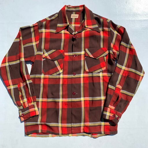 40's Towncraft タウンクラフト オープンカラーチェックシャツ 開襟シャツ フラップポケット ダメージ有り Sサイズ 希少 ヴィンテージ BA-928 RM1297H