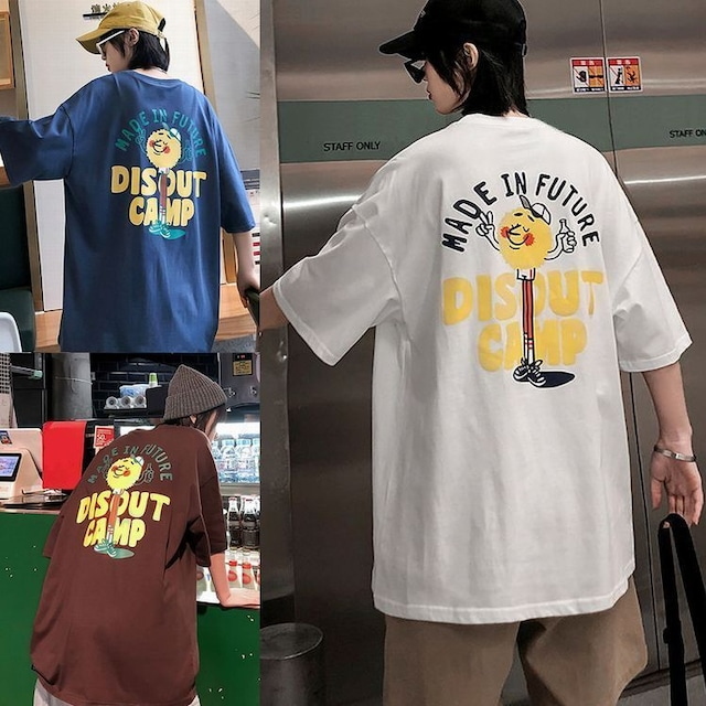 ユニセックス 半袖 Tシャツ メンズ レディース MADE IN FUTURE 英字 キャラクター プリント オーバーサイズ 大きいサイズ ルーズ ストリート TBN-613375608721