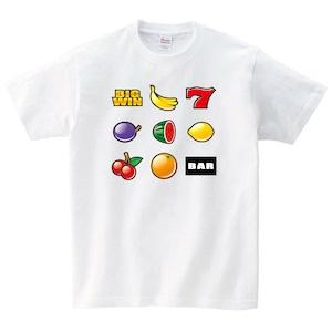 スロット Tシャツ おもしろ パロディ ネタ 白 プレゼント 大きいサイズ 綿100% 160 S M L XL