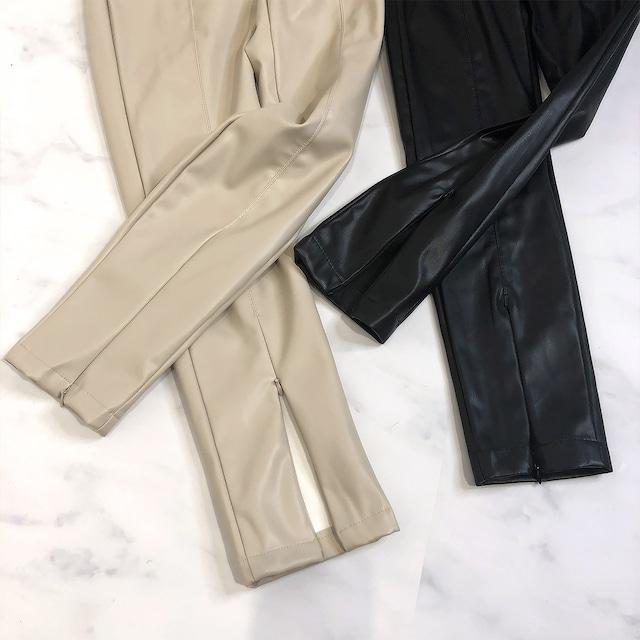 裾ジップ付きエコレザースキニーレザーパンツ 3色展開
