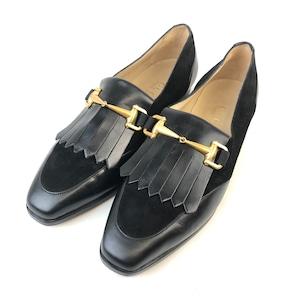 GUCCI グッチ ホースビット フリンジ コンビレザー スクエアトゥ 靴 ローファー パンプスブラック vintage ヴィンテージ オールドグッチ GU-X0901