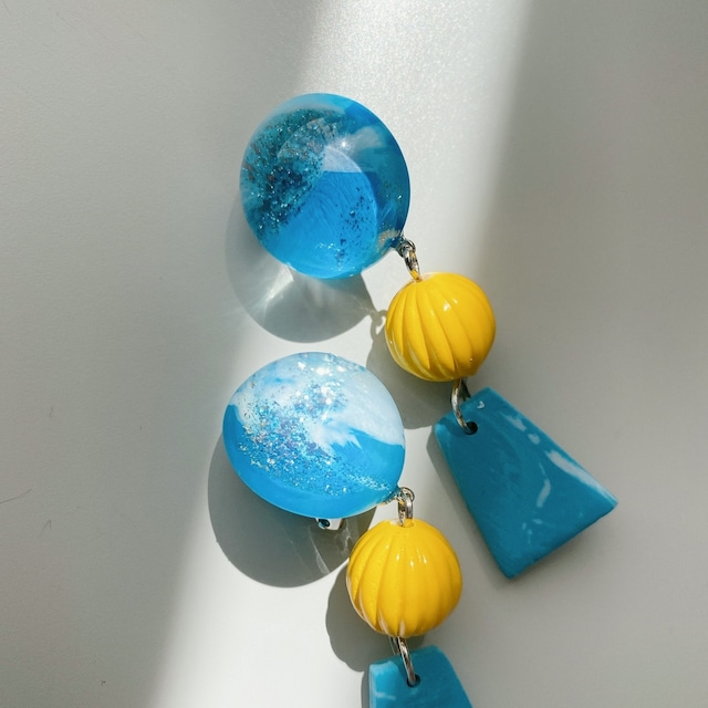 """ Earrings NO.danoan-152″ ブルーペイントとクレイパーツ"