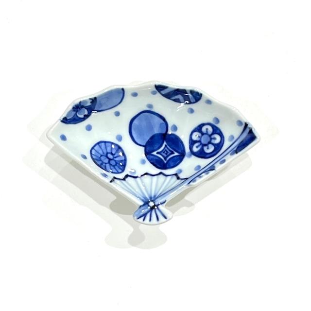 丸紋水玉  扇小皿