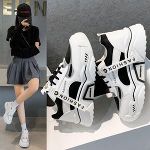 【シューズ】ファッションストリート系カジュアルPU丸トゥ厚底スニーカー42569596