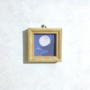 【送料無料 絵画】『興福寺と望月』 7.5㎝ 正方形 額入り