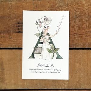 ポストカード「セイヨウオダマキ@AKLEJA(王子たちの花文字 - 1)」