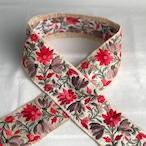 インド刺繍リボン レッド×きなり ins-0058ro
