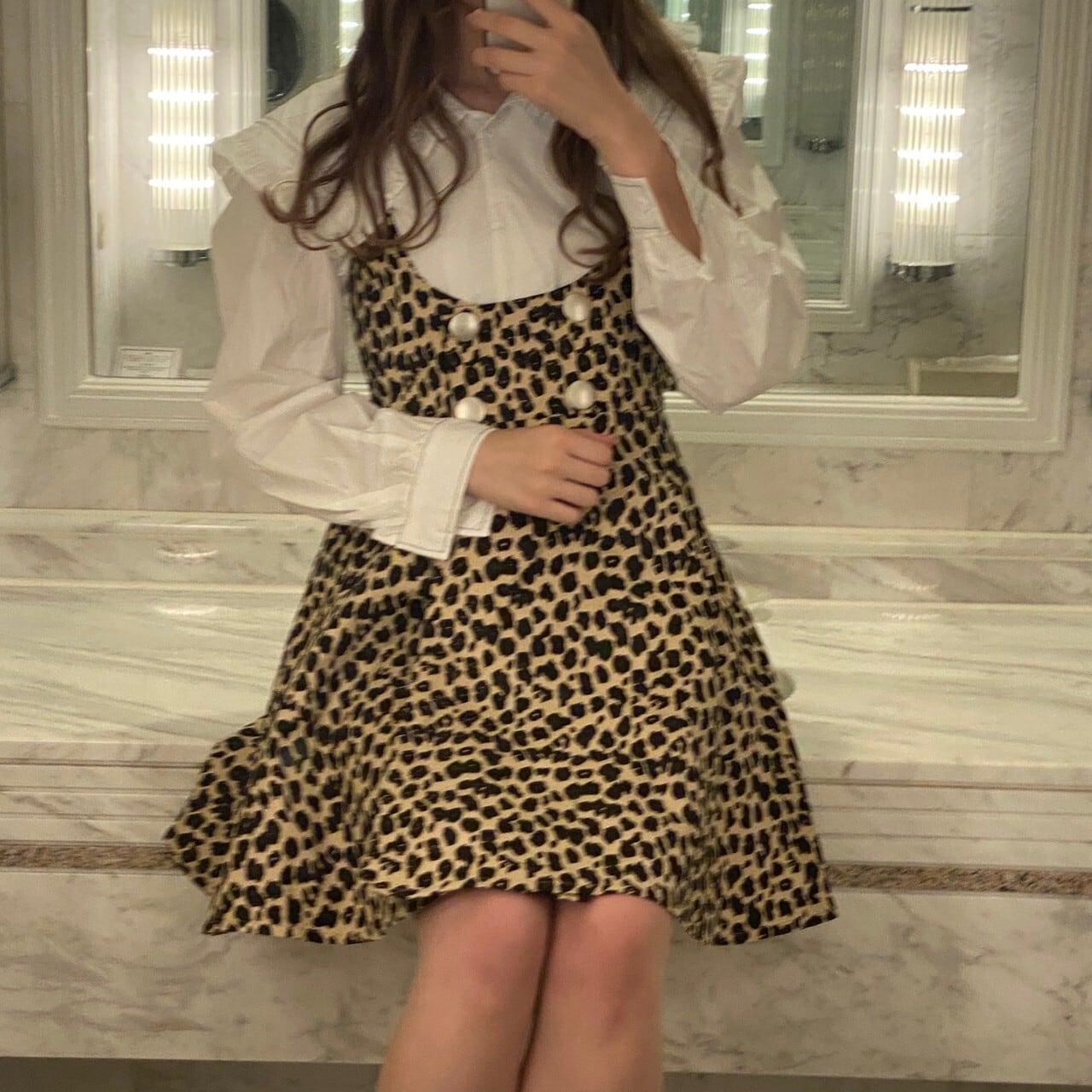 【LAST1】leopard salopette onepiece