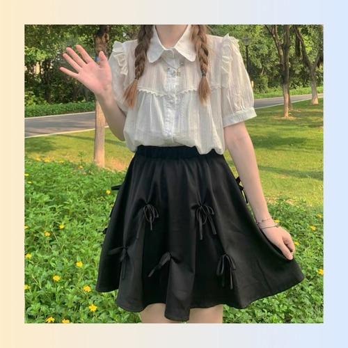 【お取り寄せ】ナチュラルブラウス&リボンスカート セット