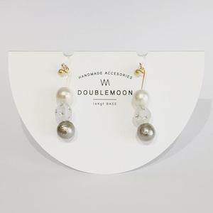 ***NEW*** コットンパールとドイツ製スタービーズのイヤリング